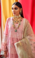 Embroidered lawn front with hand-work embellishment  Schiffli lace front  Embroidered organza front border  Back & sleeves plain  Embroidered organza sleeves border  Schiffli lace  Embroidered dori work organza dupatta  Embroidered organza border dupatta  Digital printed cotton trouser