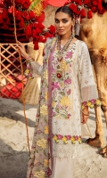 Embroidered schiffli lawn front with hand-work embellishment  Embroidered organza front border  Schiffli lace border  Embroidered schiffli lawn sleeves  Back plain lawn  Embroidered chiffon dupatta  Embroidered schiffli patch trouser  Dyed cotton trouser
