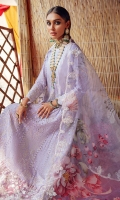 Embroidered lawn front body  Embroidered schiffli lawn front & back panel  Embroidered front & back organza patch  Embroidered schiffli lawn sleeves  Back plain lawn  Embroidered printed organza dupatta  Dyed cotton trouser