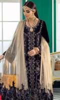 Embroidered, Sequined And Hand-Work Embellished Velvet Front Velvet Back With Embroidered & Sequined Border Patti Velvet Sleeves Sequined, Embroidered & Hand-Embellished Jacquard Trouser Fabric Zari Tila Net Dupatta With Embroidered, Sequined And Hand-Work Embellished Velvet Border Patti