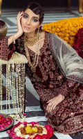 Embroidered, Sequined And Hand-Embellished Velvet Front Front Velvet Border Sequined, Embroidered & Hand-Embellished Plain Back Velvet Velvet Sleeves Sequined, Embroidered & Hand-Embellished Velvet Trouser Fabric Embroidered Trouser Border Patti Embroidered Net Dupatta With Velvet Embroidered Border Embroidered Organza Dupatta Patti