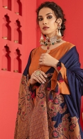 Embroidered Leather Jacquard Shirt Embroidered Leather Jacquard Pashmina Shawl Dyed Trouser