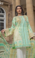 Pool Green Unstitched 3 Piece Lawn Suit