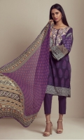 PRINTED LAWN SHIRT WITH EMBROIDERED NECK  PRINTED CHIFFON DUPATTA  CAMBRIC DYED TROUSER