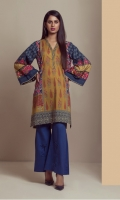 PRINTED PANEL SHIRT WITH EMBROIDERED SLEEVES