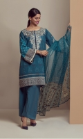 PRINTED LAWN SHIRT WITH EMBROIDERED NECK  CHIFFON PRINTED DUPATTA  CAMBRIC DYED TROUSER