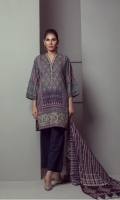 PRINTED LAWN SHIRT WITH DAMAN EMBROIDERED  LAWN PRINTED DUPATTA  CAMBRIC DYED TROUSER