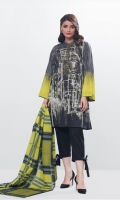 2 Piece Printed Lawn Shirt and Printed Silk Dupatta