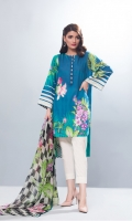 2 Piece Printed Lawn Shirt and Printed Chiffon Dupatta