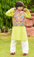Poly Viscose Printed Waistcoat, Lime Green Cotton Kurta with Buttons and White Cotton Shalwar