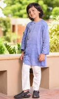 Blue Chambray Cotton Kurta with Wood Buttons and White Cotton Straight Pants