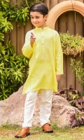 Yellow Chambray Cotton Kurta with Wood Buttons and White Cotton Straight Pants