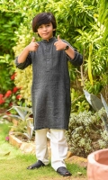 Black Chambray Kurta with Buttons and White Cotton Shalwar
