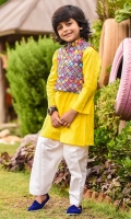 Poly Viscose Printed Waistcoat, Yellow Cotton Kurta with Buttons and White Cotton Shalwar