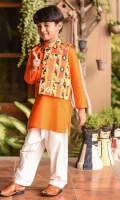 Poly Viscose Printed Waistcoat, Orange Cotton Kurta with Buttons, and White Cotton Shalwar
