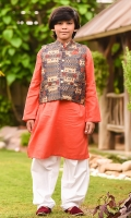 Poly Viscose Printed Waistcoat, Coral Khaddar Kurta with Buttons and White Cotton Shalwar