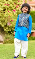 Poly Viscose Printed Waistcoat, Blue Cotton Kurta with Buttons and White Cotton Shalwar