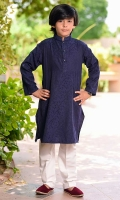 Navy Blue Self Cotton Kurta with Buttons and White Cotton Straight Pants