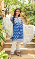 Digital Printed Lawn Top with Embellishments, White Cotton Trouser with Print Patti and Off White Chiffon Dupatta with Print Patti