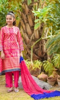 Hot Pink Cotton with Screen Print and Laces, Hot Pink Cotton Trouser and Hot Pink and Royal Blue Chiffon Dupatta with Screen Print