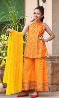 Orange Cotton with Screen Print Top, Orange Cotton Pants with Screen Print, Yellow Chiffon Dupatta with Screen Print.