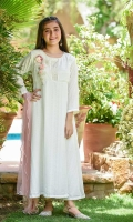 Off White Net Maxi with Hand Adda Work and 3D Embroidered Motif, Gold Jersey Tights and Baby Pink Soft Net Dupatta