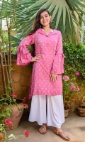 Light Pink Chambray Cotton with Screen Print and Hand Adda Work, White Boski Linen Bell Bottom Trouser