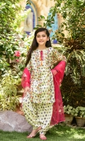 Digital Printed Lawn Top with Embellishments, Printed Lawn Shalwar and Hot Pink Soft Net Dupatta