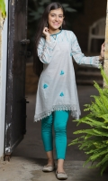 Light Grey Chambray Cotton Top with Embroidery and Lace Work