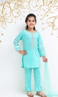 Sea Green Cotton Top with Embroidery and Hand Adda Work, Sea Green Cotton Trouser and Sea Green Soft Net Dupatta
