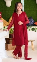 Deep Red Chiffon with Embroidery and Lining Inside, Deep Red Raw Silk Trouser and Deep Red Chiffon Dupatta with Embroidery