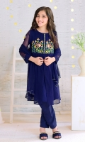 Navy Blue Chiffon with Embroidery and Hand Adda Work on Placket with Lining Inside, Navy Blue Raw Silk Trouser and Navy Blue Chiffon Dupatta with Pearl Pico