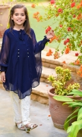 Navy Blue Chiffon Top with Embellishments and Lining Inside, White Net Pants with Lining Inside.