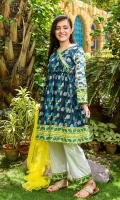 Digital Printed Lawn Kurta with Embellishments, White Cotton Trouser with Print Panelling and Lime Green Soft Net Dupatta