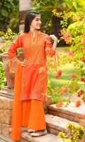 Digital Printed Lawn Top with Embellishments, Orange Raw Silk Trouser and Orange Soft Net Dupatta