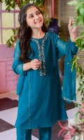 Emerald Green Chiffon with Hand Adda Work and Lining Inside, Emerald Green Raw Silk Pants and Emerald Green Chiffon Dupatta with Adda Work