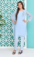 Chambray Blue Chiffon With Hand Adda Work and Lining Inside, Chambray Blue Raw Silk Trouser
