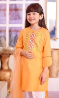 Tangerine Orange Cotton Top with Embroidery, White Cotton Straight Pant with Lace and Tangerine Orange Soft Net Dupatta