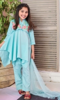 Mint Green Cotton Top with Embroidery and Sequence Work, Mint Cotton Straight Pant with Embellishments and Mint Soft Net Dupatta