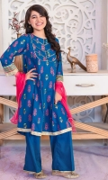 Teal Blue Cotton Top with Screen Print and Laces, Teal Blue Cotton Trouser and Hot Pink Soft Net Dupatta