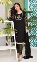 Black Chiffon Kurta with Hand Adda Work and Lining Inside, Black Banarasi Trouser and Black Chiffon Dupatta with Lace Work