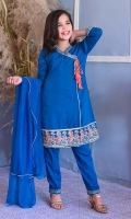 Teal Blue Cotton Anghrakha with Embroidery and Tassels, Teal Blue Cotton Trouser with Embroidery and Teal Blue Soft Net Dupatta