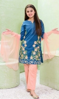 Teal Blue Cotton Top with Embroidery, Peach Cotton Trouser and Peach Soft Net Dupatta