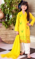 Mango Yellow Cotton Top with Embroidery, White Cotton Trouser and Mango Yellow Soft Net Dupatta