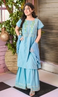 Ice Blue Cotton Top with Embroidery, Ice Blue Cotton Gharara with Embroidery and Ice Blue Soft Net Dupatta