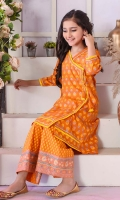 Orange Cotton Top with Screen Print and Tassels, Orange Cotton Bell Bottom Trouser with Screen Print and Yellow Soft Net Dupatta