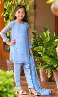 Chambray Blue Chiffon with Hand Adda Work and Lining Inside, Chambray Blue Raw Silk Trouser and Chambray Blue Chiffon Dupatta