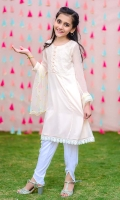 Light Pink Chiffon with Embroidery and Lining Inside, White Linen Tulip Pants with Lace and Soft Net Dupatta with Gold Foil Print