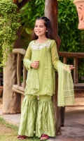 Parrot Green Chiffon with Applique Embroidery and Hand Adda Touching with Lining Inside, Parrot Green Charmeuse Gharara with Embroidery and Parrot Green Chiffon with Lace