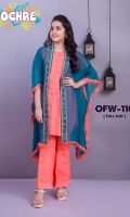 Fabric: Chiffon Coat with Embroidered Patta and Raw Edge Work, Malai Crepe Inner and Raw Silk Trouser